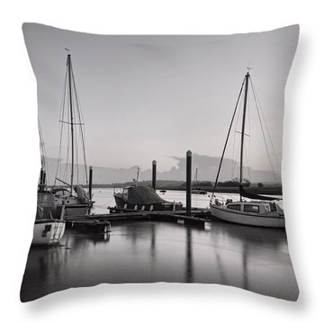 Topsham Boats At Dusk Throw Pillow