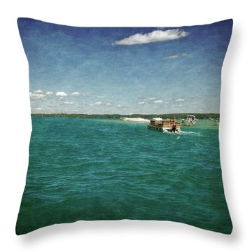 Torch Lake Sandbar Dropoff Throw Pillow