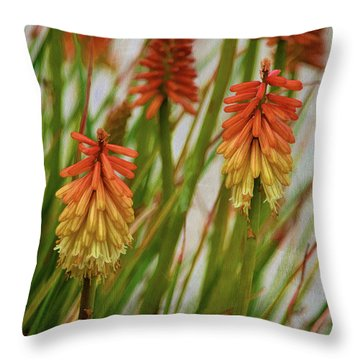 Torch Lily At The Beach Throw Pillow by Sandi OReilly