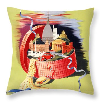 Torino Turin Italy Vintage Travel Poster Restored Throw Pillow