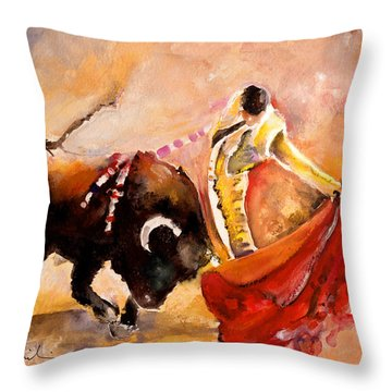 Toro Acuarela Throw Pillow