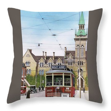 Throw Pillow featuring the painting Toronto Belt Line by Kenneth M Kirsch