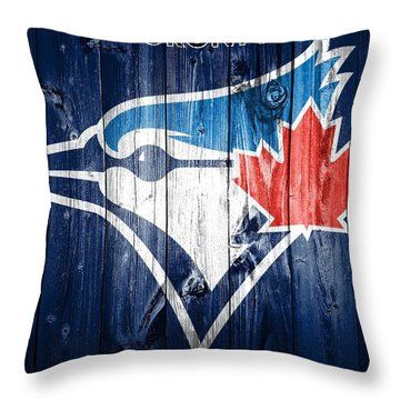 Toronto Blue Jays Barn Door Throw Pillow by Dan Sproul