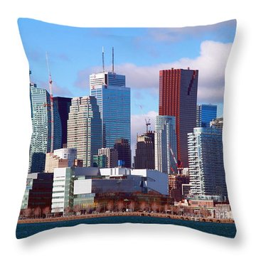 Throw Pillow featuring the photograph Toronto Core by Valentino Visentini