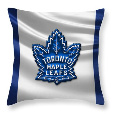 Toronto Maple Leafs - 3d Badge Over Flag Throw Pillow