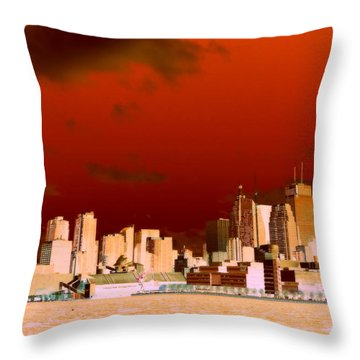 Throw Pillow featuring the photograph Toronto Red Skyline by Valentino Visentini