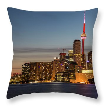 Throw Pillow featuring the photograph Toronto Skyline At Dusk by Adam Romanowicz