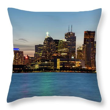 Throw Pillow featuring the photograph Toronto Skyline At Dusk Panoramic by Adam Romanowicz