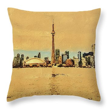Throw Pillow featuring the digital art Toronto Skyline Panorama by PixBreak Art