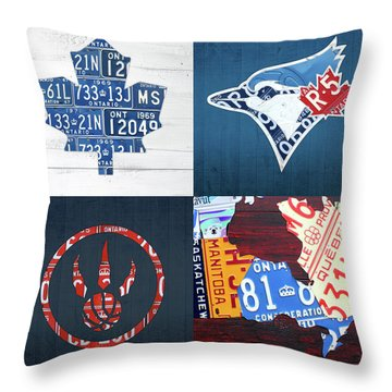 Toronto Sports Team License Plate Art Ontario Map Blue Jays Maple Leafs Raptors Throw Pillow By