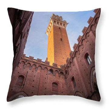 Throw Pillow featuring the photograph Torre Del Mangia Siena Italy by Joan Carroll