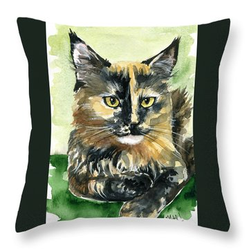 Tortoiseshell Maine Coon Portrait Throw Pillow
