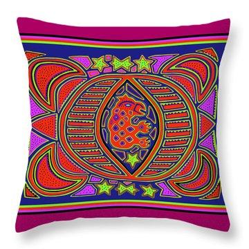 Throw Pillow featuring the digital art Tortuga Shaman Spirits by Vagabond Folk Art - Virginia Vivier