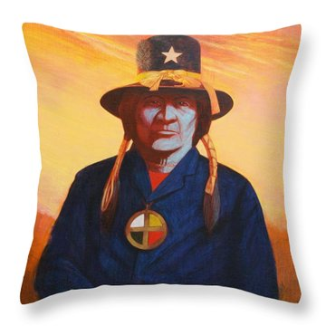Tosh-a-wah,peneteka Comanche Chief Throw Pillow by J W Kelly