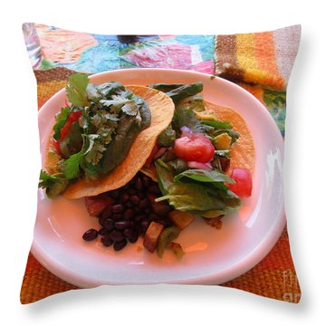 Throw Pillow featuring the photograph Tostada Times Two by Marie Neder