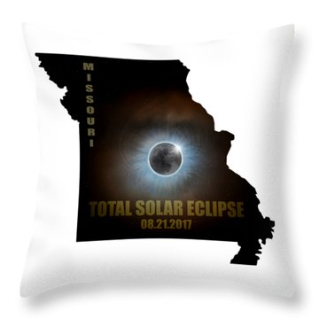 Total Solar Eclipse In Missouri Map Outline Throw Pillow by David Gn
