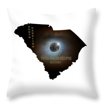 Total Solar Eclipse In South Carolina Map Outline Throw Pillow by David Gn