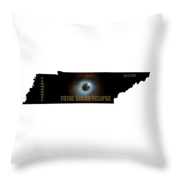 Total Solar Eclipse In Tennessee Map Outline Throw Pillow by David Gn