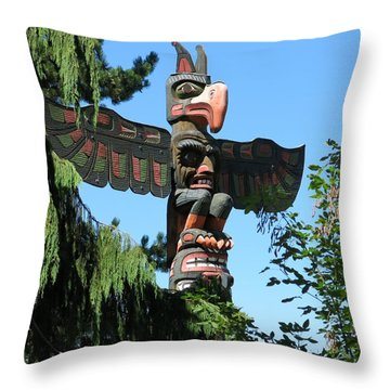 Totem Pole Throw Pillow by Betty Buller Whitehead