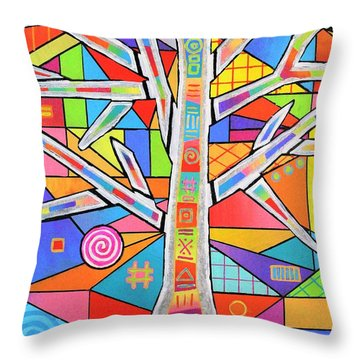 Totem Tree Throw Pillow by Jeremy Aiyadurai
