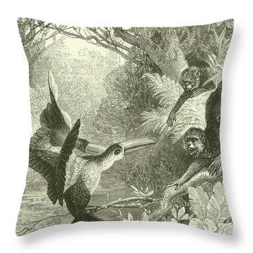 Toucans And Monkeys Throw Pillow