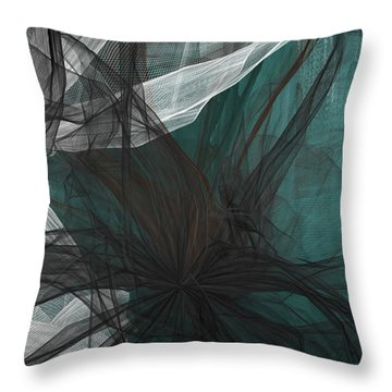 Throw Pillow featuring the painting Touch Of Class - Black And Teal Art by Lourry Legarde