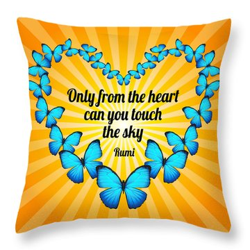 Touch The Sky With Rumi's Heart Butterflies Throw Pillow by Ginny Gaura