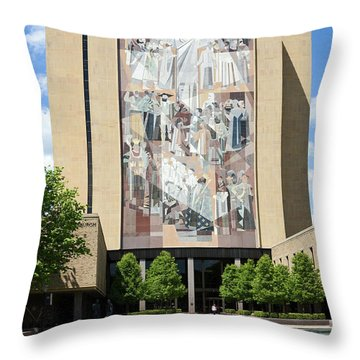 Touchdown Jesus Mural Throw Pillow by Sally Weigand