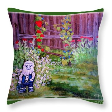 Throw Pillow featuring the painting Touched By A Gnome In Grandma's Secret Garden by Kimberlee Baxter