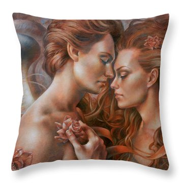 Touched By Angel Throw Pillow by Arthur Braginsky