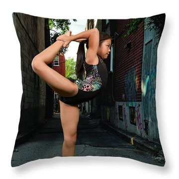 Touching The Ponytail Throw Pillow by Robert Hebert