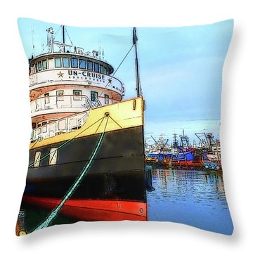 Tour Boat At Dock Throw Pillow by Tobeimean Peter