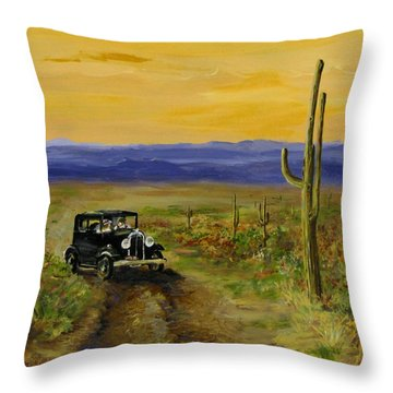 Throw Pillow featuring the painting Touring Arizona by Jack Skinner