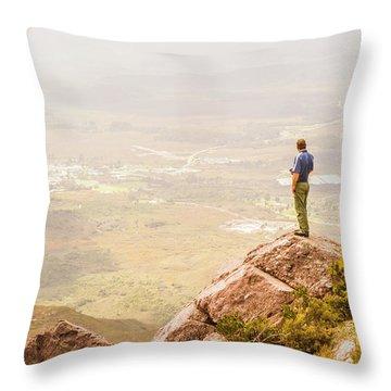 Tourist On The Tip Of Western Tasmania Throw Pillow