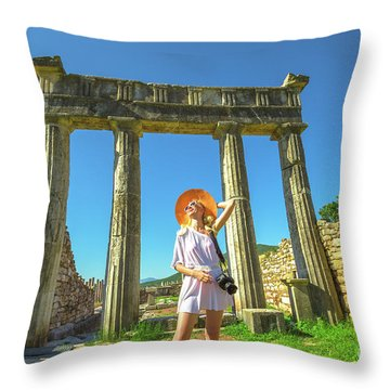 Tourist Traveler Photographer Throw Pillow