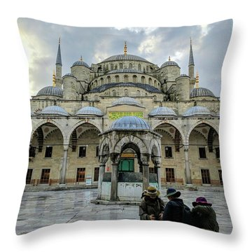 Tourists And The Blue Mosque Throw Pillow
