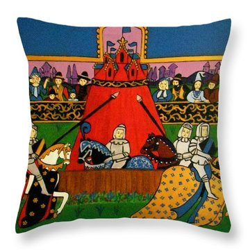 Throw Pillow featuring the painting Tournament by Stephanie Moore