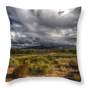 Towards Sandia Peak Throw Pillow