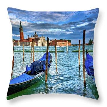 Gondolas And San Giorgio Di Maggiore In Venice, Italy Throw Pillow