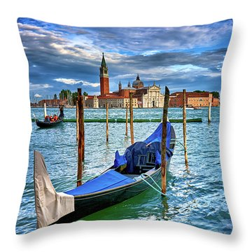 Gondolas And San Giorgio Di Maggiore In Venice, Italy Throw Pillow