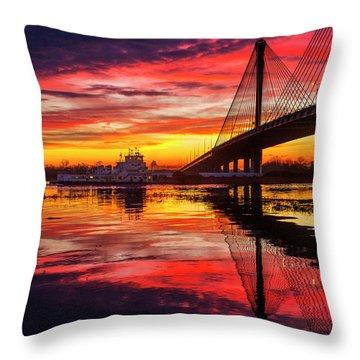 Towboat Going Under The Clark Bridge Alton Illinois Throw Pillow