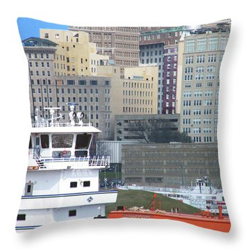 Towboat Robt G Stone At Memphis Tn Throw Pillow