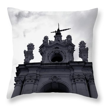Throw Pillow featuring the photograph Tower Against The Clouds by Lorraine Devon Wilke