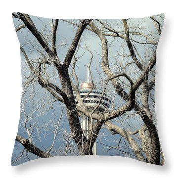 Throw Pillow featuring the photograph Tower And Trees by Valentino Visentini