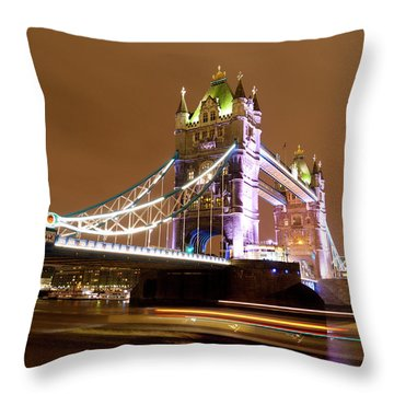 Tower Bridge Evening Throw Pillow by Rae Tucker