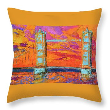 Throw Pillow featuring the painting Tower Bridge Colorful Painting, Under Vibrant Sunset by Patricia Awapara