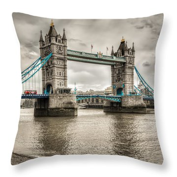 Tower Bridge In London In Selective Color Throw Pillow