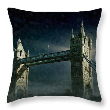 Tower Bridge In Moonlight Throw Pillow
