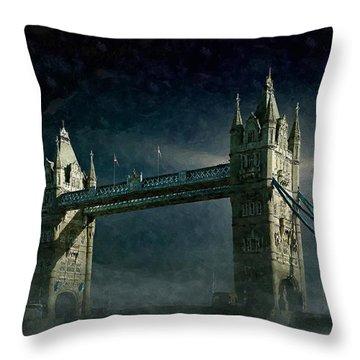 Tower Bridge In Moonlight Throw Pillow