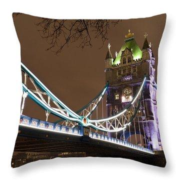 Tower Bridge Lights Throw Pillow by Rae Tucker